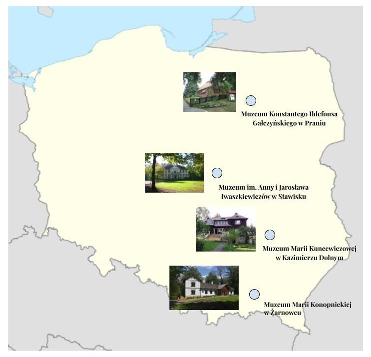 Mapa konturowa Polski na której naniesione są cztery muzea literackie.