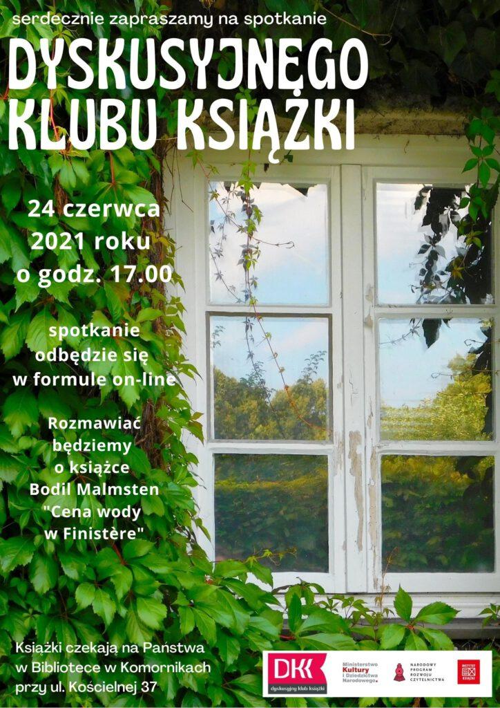 Plakat zapraszający na spotkanie DKK na którym omawiana będzie książka Opowieść o miłości i mroku Amosa Oza