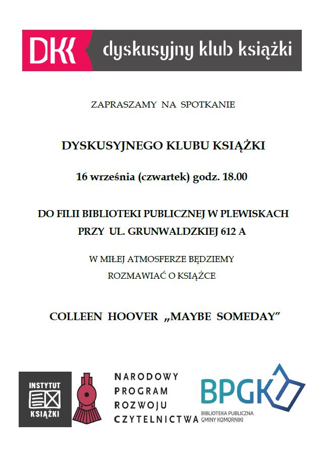 Plakat zapraszający na spotkanie Dyskusyjnego Klubu Książki w Plewiskach