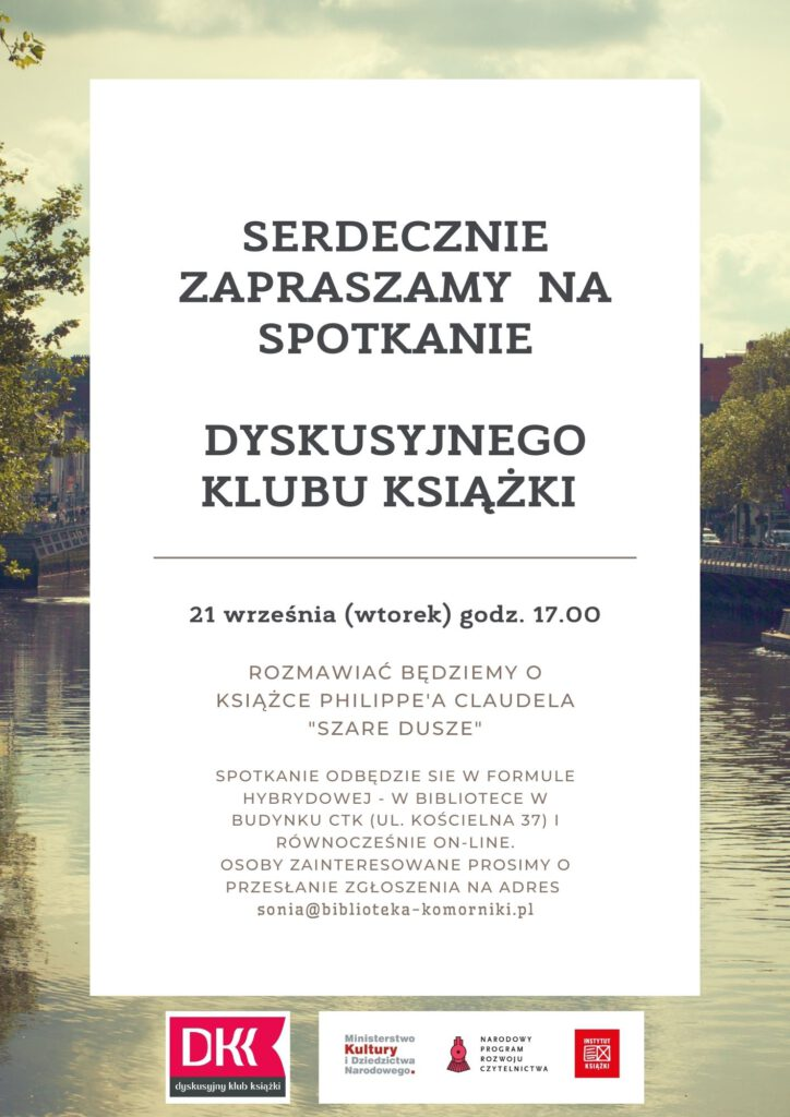 Plakat zapraszający na spotkanie Dyskusyjnego Klubu Książki, które odbędzie się w Bibliotece w Komornikach