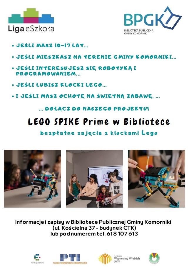 Plakat zapraszający do udziału w bezpłatnych zajęciach z Lego Spike w Bibliotece