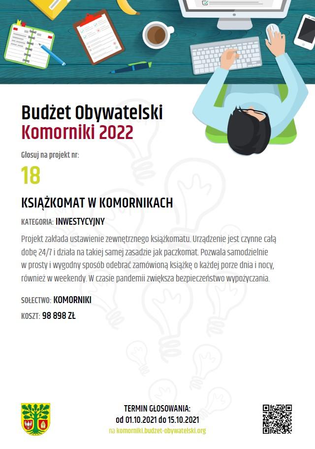 Plakat zachecający do glosowania na Książkomat w Komornikach, projekt zgłoszony w Budżecie Obywatelskim