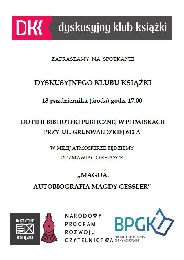 Plakat zapraszający na spotkanie Dyskusyjnego Klubu Książki